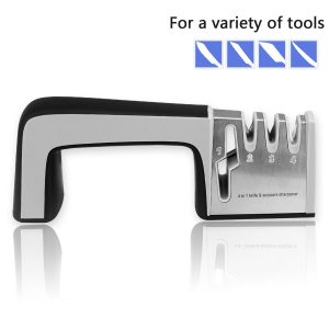 3. FATCHOI, Knife Sharpening System, 4 in 1 Knife Scissors Sharpener Maintaining Kitchen & Sports Knives, Kitchen Shears