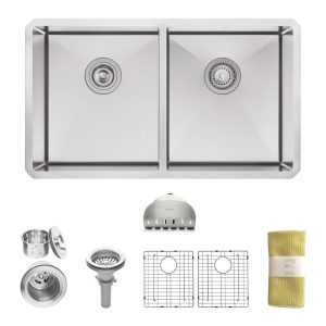 zuhne 32 inch undermount 50 50 deep double bowl 16 gauge stainless steel modern kitchen top 10 best double bowl stainless steel kitchen sinks in 2018      rh   topreviewpro com