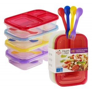 5. Health & diet three compartment plastic bento