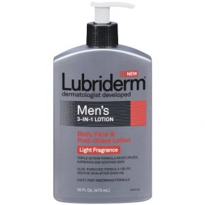 5. Lubriderm Men's 3-in-1 Lotion, Body, Face and Post-shave Lotion