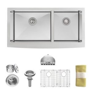5. Zuhne Turin 36 Farmhouse Apron 60_40 Deep Double Bowl Stainless Steel Luxury Kitchen Sink