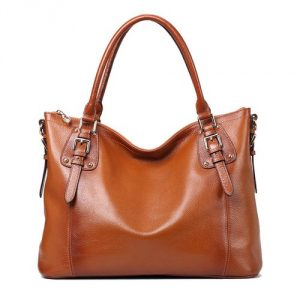 6. Kattee, Women's Vintage Soft Leather Tote Shoulder Bag