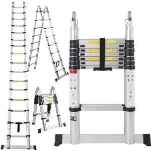 7. Generic, 16.5 Ft Aluminum Telescopic Telescoping Collapsible Ladder Extension