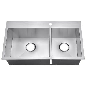 "7. Golden Vantage 32"" Handmade Top Mount Drop-In 16 Gauge Stainless Steel Dual Bowl Kitchen Sink"