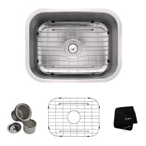 8. Kraus KBU12, 23 inch Undermount Single Bowl 16 gauge Stainless Steel Kitchen Sink