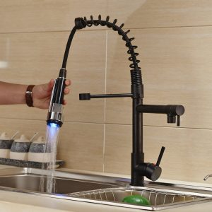 9. Rozin Oil Rubbed Bronze LED Light Pull Down Spray Kitchen Sink