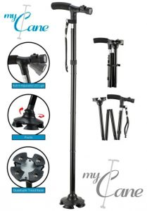 9.My Cane; Pivoting Quad Base, Folding Cane with LED light and cushion handle
