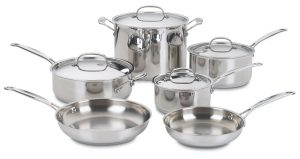 2. Cuisinart 77-10 Chef's Classic Stainless 10-Piece Cookware Set