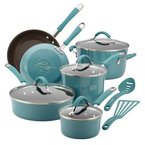 7. Rachael Ray, Cucina Hard Porcelain Enamel Nonstick Cookware Set