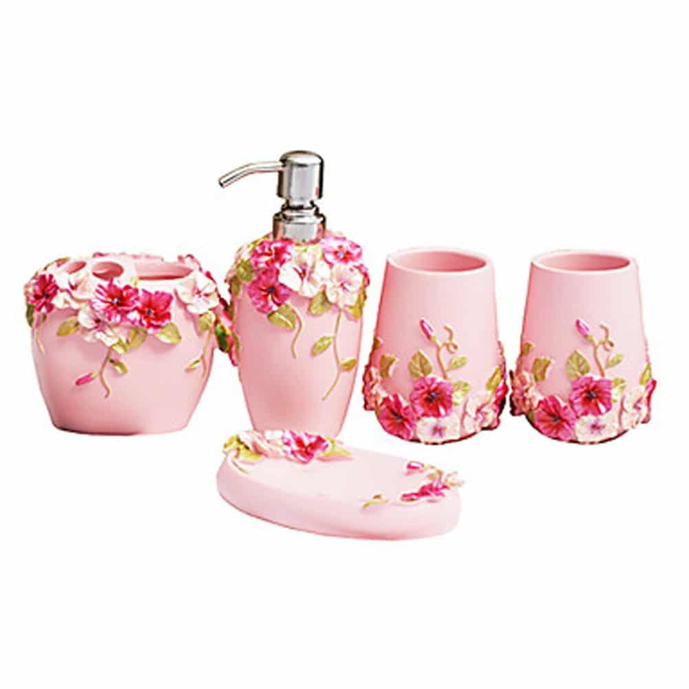 Top 10 best stylish bathroom accessories in 2018 for Pink bathroom accessories sets