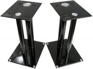This Black Speaker Stand Is Fit For Bookshelf Speakers Surround And Satellite It Mounted On The Floor Had A Simple Yet Effective Mounting