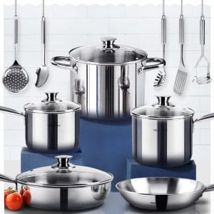 9. Homichef, Mirror Polished Nickel Free Stainless Steel Cookware Set (14-Piece)