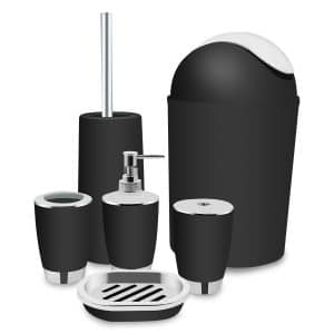 Yasolote, Black Bathroom Accessories Set